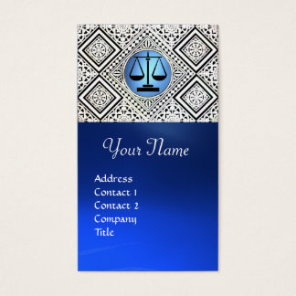 LEGAL OFFICE, ATTORNEY BLUE BLACK WHITE DAMASK BUSINESS CARD
