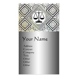 LEGAL OFFICE,ATTORNEY DAMASK Black Silver Platinum Double-Sided Standard Business Cards (Pack Of 100)
