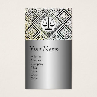LEGAL OFFICE,ATTORNEY DAMASK Black Silver Platinum Business Card