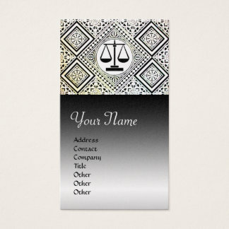 LEGAL OFFICE,ATTORNEY DAMASK Black White Pearl Business Card