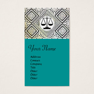 LEGAL OFFICE, ATTORNEY DAMASK green blue Business Card