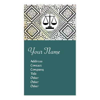 LEGAL OFFICE, ATTORNEY DAMASK green blue Double-Sided Standard Business Cards (Pack Of 100)