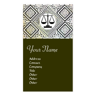 LEGAL OFFICE, ATTORNEY DAMASK green Double-Sided Standard Business Cards (Pack Of 100)