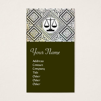 LEGAL OFFICE, ATTORNEY DAMASK green Business Card