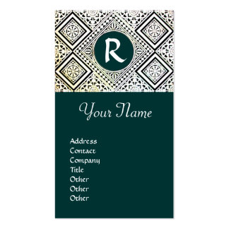 LEGAL OFFICE, ATTORNEY DAMASK Monogram green Double-Sided Standard Business Cards (Pack Of 100)