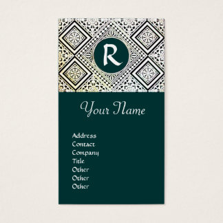 LEGAL OFFICE, ATTORNEY DAMASK Monogram green Business Card