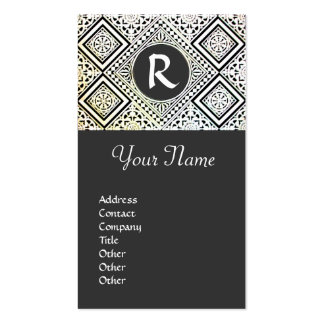 LEGAL OFFICE, ATTORNEY DAMASK Monogram grey Double-Sided Standard Business Cards (Pack Of 100)
