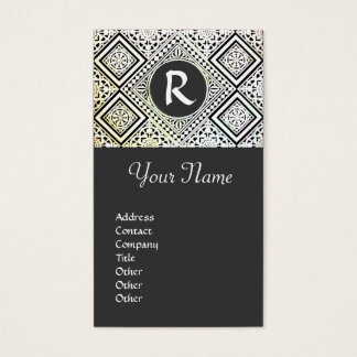 LEGAL OFFICE, ATTORNEY DAMASK Monogram grey Business Card