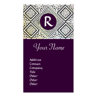 LEGAL OFFICE, ATTORNEY DAMASK Monogram purple Double-Sided Standard Business Cards (Pack Of 100)
