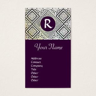 LEGAL OFFICE, ATTORNEY DAMASK Monogram purple Business Card