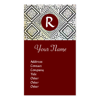 LEGAL OFFICE, ATTORNEY DAMASK Monogram red Double-Sided Standard Business Cards (Pack Of 100)
