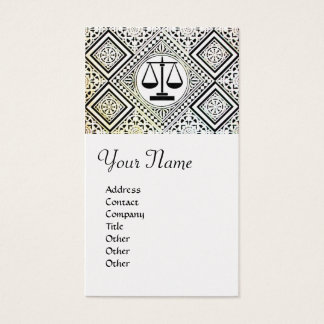 LEGAL OFFICE, ATTORNEY DAMASK monogram White Pearl Business Card