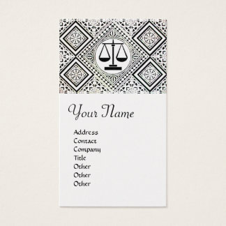 LEGAL OFFICE, ATTORNEY DAMASK pearl paper Business Card