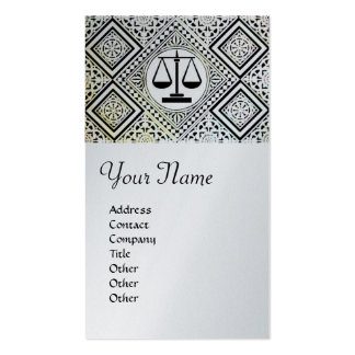 LEGAL OFFICE, ATTORNEY DAMASK platinum metallic Double-Sided Standard Business Cards (Pack Of 100)