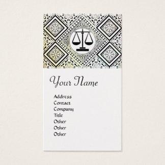 LEGAL OFFICE, ATTORNEY DAMASK platinum metallic Business Card