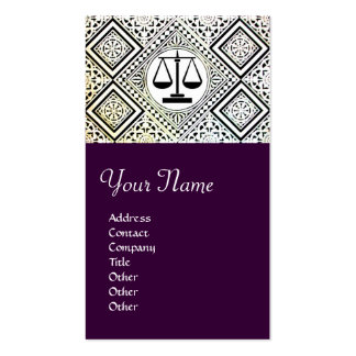 LEGAL OFFICE, ATTORNEY DAMASK purple Double-Sided Standard Business Cards (Pack Of 100)