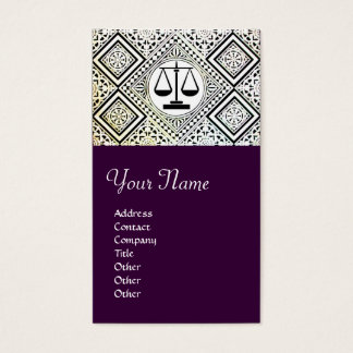 LEGAL OFFICE, ATTORNEY DAMASK purple Business Card