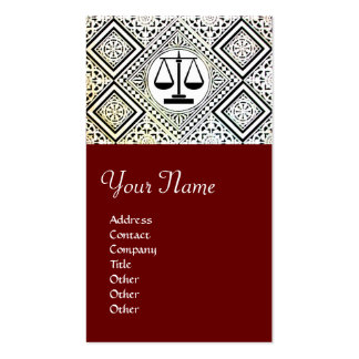 LEGAL OFFICE, ATTORNEY DAMASK red Double-Sided Standard Business Cards (Pack Of 100)