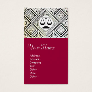 LEGAL OFFICE, ATTORNEY DAMASK red Business Card