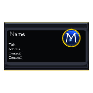 LEGAL OFFICE,ATTORNEY Monogram black blue sapphire Double-Sided Standard Business Cards (Pack Of 100)