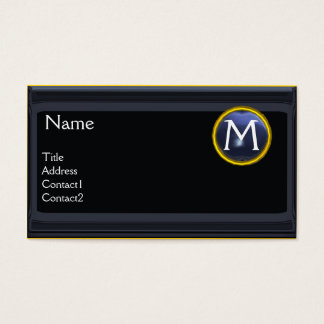 LEGAL OFFICE,ATTORNEY Monogram black blue topaz Business Card
