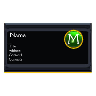 LEGAL OFFICE,ATTORNEY Monogram black emerald green Double-Sided Standard Business Cards (Pack Of 100)