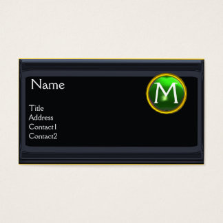 LEGAL OFFICE,ATTORNEY Monogram black emerald green Business Card