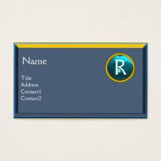 LEGAL OFFICE, ATTORNEY Monogram blue sapphire Business Card