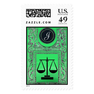 LEGAL OFFICE,ATTORNEY Monogram Emerald Green Postage
