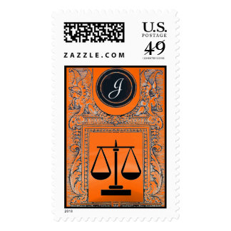 LEGAL OFFICE,ATTORNEY Monogram Orange Yellow Postage