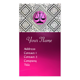 LEGAL OFFICE, ATTORNEY PINK BLACK WHITE DAMASK Double-Sided STANDARD BUSINESS CARDS (Pack OF 100)