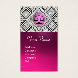 LEGAL OFFICE, ATTORNEY PINK BLACK WHITE DAMASK BUSINESS CARD