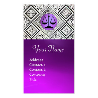 LEGAL OFFICE, ATTORNEY PURPLE BLACK WHITE DAMASK Double-Sided STANDARD BUSINESS CARDS (Pack OF 100)