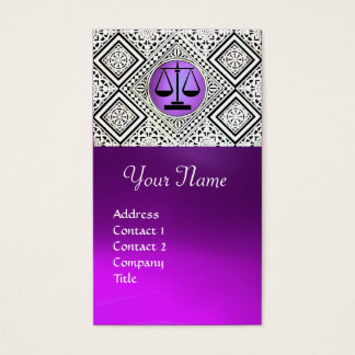 LEGAL OFFICE, ATTORNEY PURPLE BLACK WHITE DAMASK BUSINESS CARD