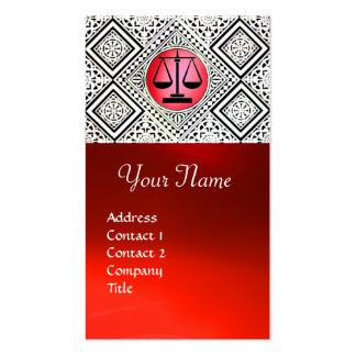 LEGAL OFFICE, ATTORNEY RED BLACK WHITE DAMASK Double-Sided STANDARD BUSINESS CARDS (Pack OF 100)