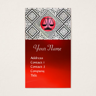 LEGAL OFFICE, ATTORNEY RED BLACK WHITE DAMASK BUSINESS CARD
