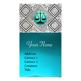 LEGAL OFFICE, ATTORNEY TEAL BLUE WHITE DAMASK Double-Sided STANDARD BUSINESS CARDS (Pack OF 100)