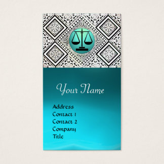 LEGAL OFFICE, ATTORNEY TEAL BLUE WHITE DAMASK BUSINESS CARD