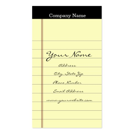 Legal Pad Business Cards