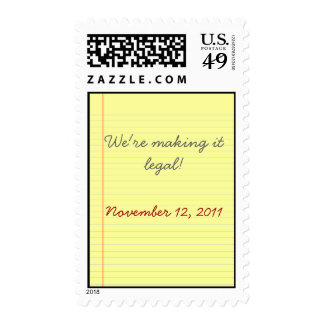 Legal pad wedding stamps