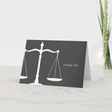 Legal Scales Elegant Law Themed Thank You Card
