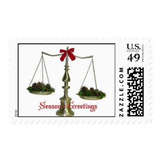 Legal Scales Season's Greetings Postage