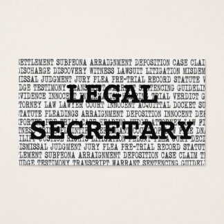 Legal Secretary Legal Words Business Card