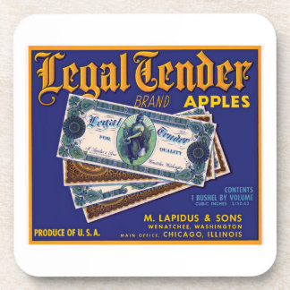 Legal Tender Apples Beverage Coaster