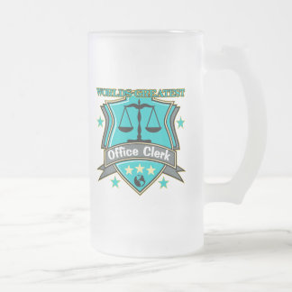 Legal World's Greatest Office Clerk Frosted Glass Beer Mug