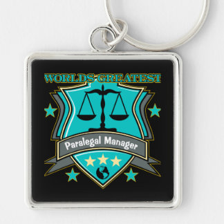 Legal World's Greatest Paralegal Manager Silver-Colored Square Keychain