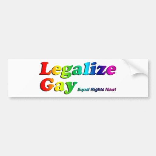 Legalice al gay pegatina de parachoque