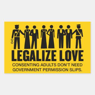 Legalice el amor pegatina rectangular