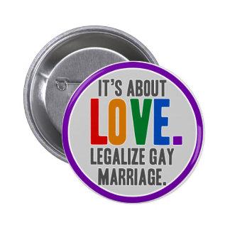 Legalice el botón del matrimonio homosexual pin redondo de 2 pulgadas