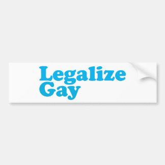 Legalice los azules cielos gay pegatina de parachoque